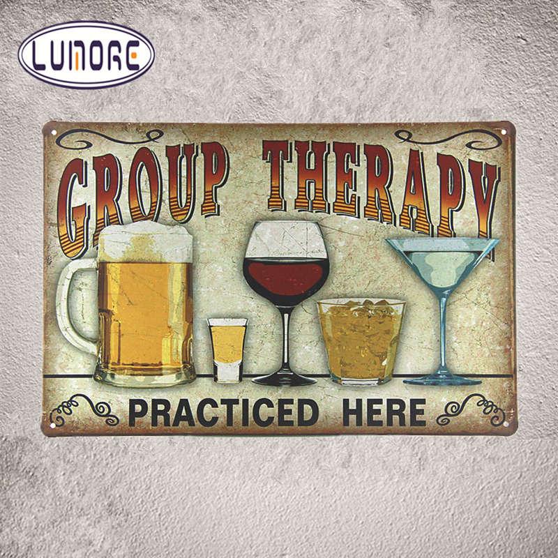Terapia De Grupo Sinais De Metal Antigo De Lata Cerveja Bar Pub tempo Arte Decoração De Parede