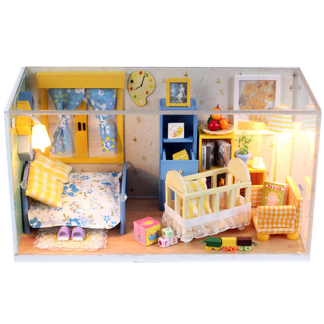 Kids Bedroom Furniture Kids Wooden Toys Online: Creative Miniature Dollhouse Furniture DIY Dollhouse Baby
