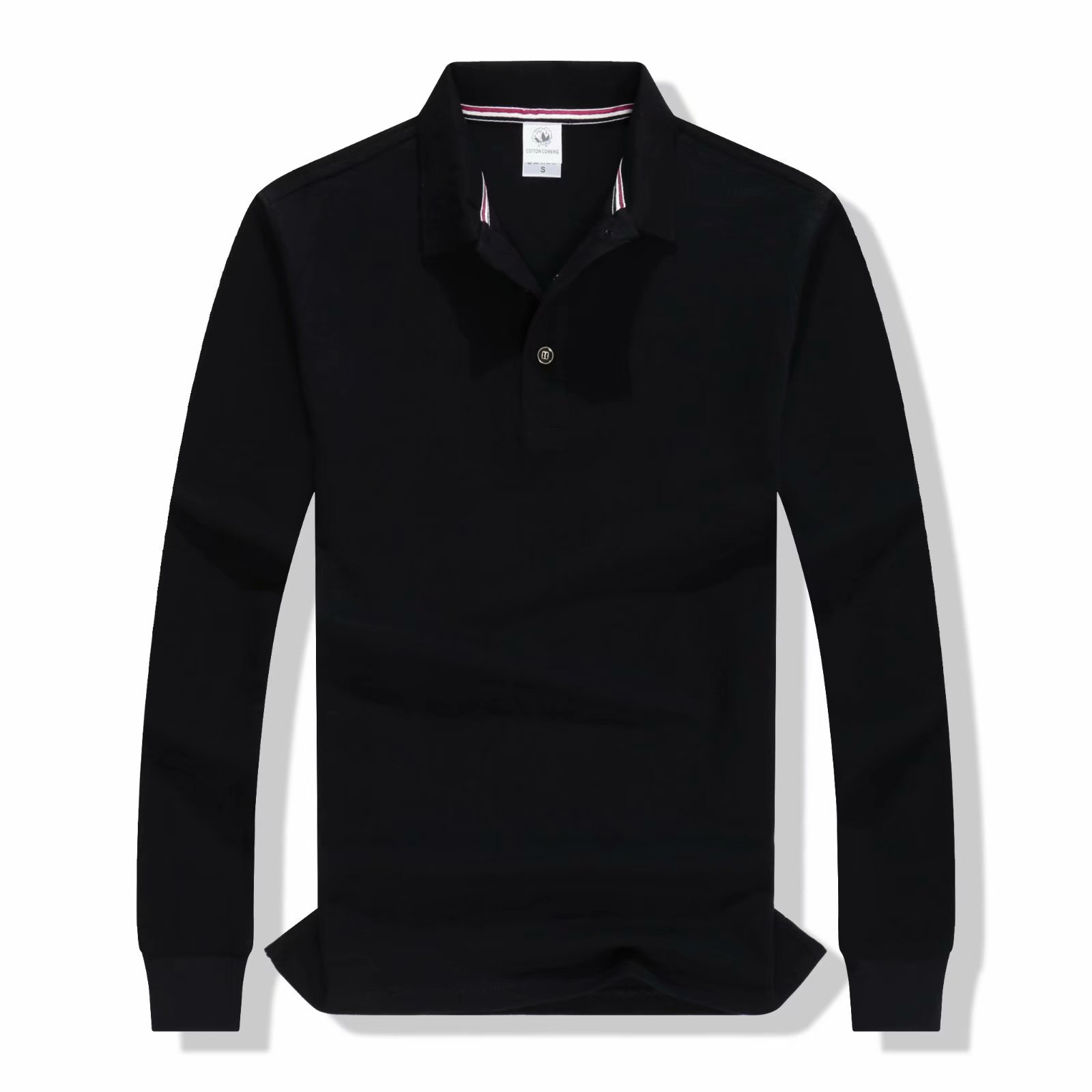 GLENN BERGER High Quality Solid Cotton Polo Shirt Casual Polo Shirts men 39 s Long sleeve polos shirt 2019 New Arrival polosshirt in Polo from Men 39 s Clothing