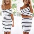 Женщины Stripes с коротким Рукавом Мини Повседневная С Плеча Bodycon Карандаш Dress 2016 Мода Белый Цвета