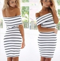 Women Stripes short Sleeve Mini Casual Off the Shoulder Bodycon Pencil Dress 2016 Fashion White Colors
