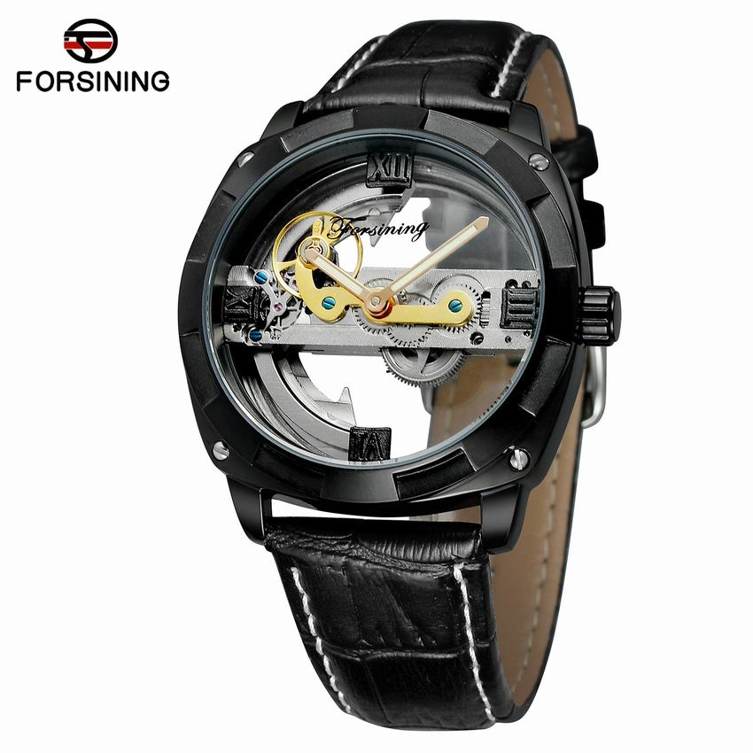 FORSINING Skeleton Watch Men Automatic Self-Wind Mechanical Watches Leather Bracelet Transparent Dial Montre Homme Automatique winner men posh mechanical wrist watch leather strap tourbillion sub dial roman number crystal skeleton dial montre homme box