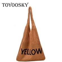 TOYOOSKY Casual Women Simple Knit Handbag INS Hot Hollow Out Shoulder Bags Ladies Fashion Net Weave Plait Tote Bag Sac A Main