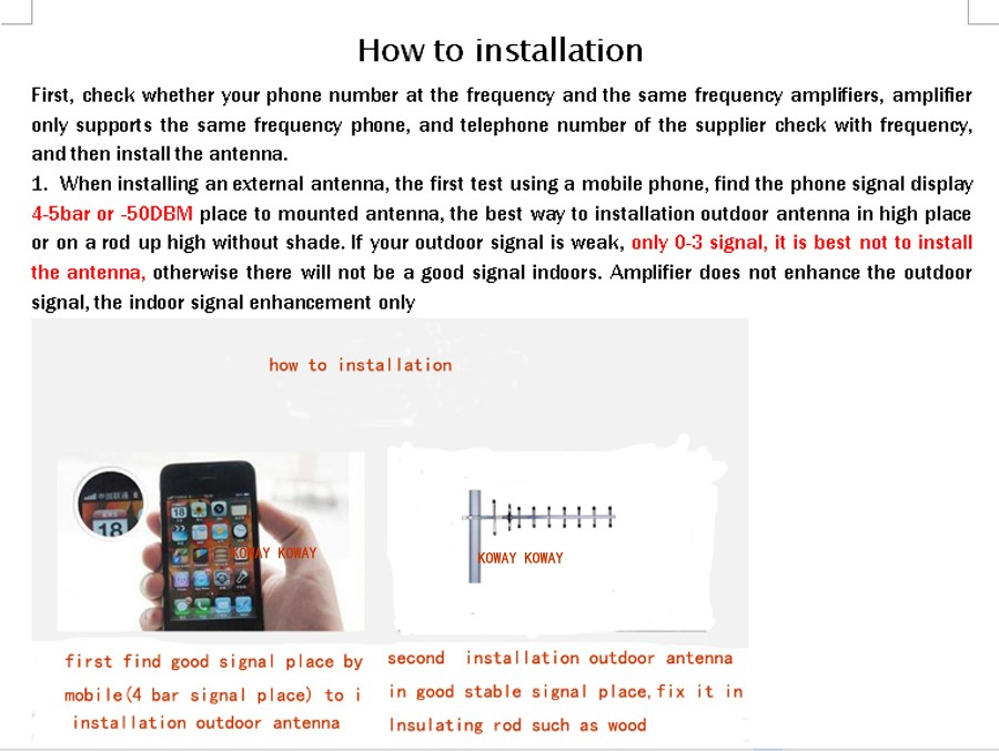 how to installation 01 yagi KOWAY