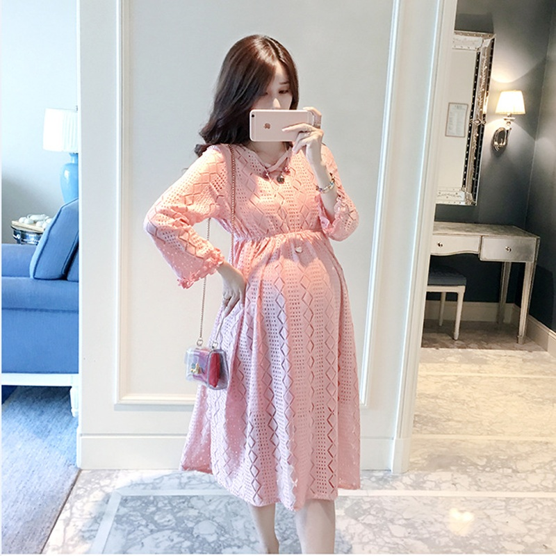 2017 Party Maternity Clothes Maternity Dresses Lace Hollow Out Jurken Gravida Solid A Line Pregnancy Clothes For Pregnant Women