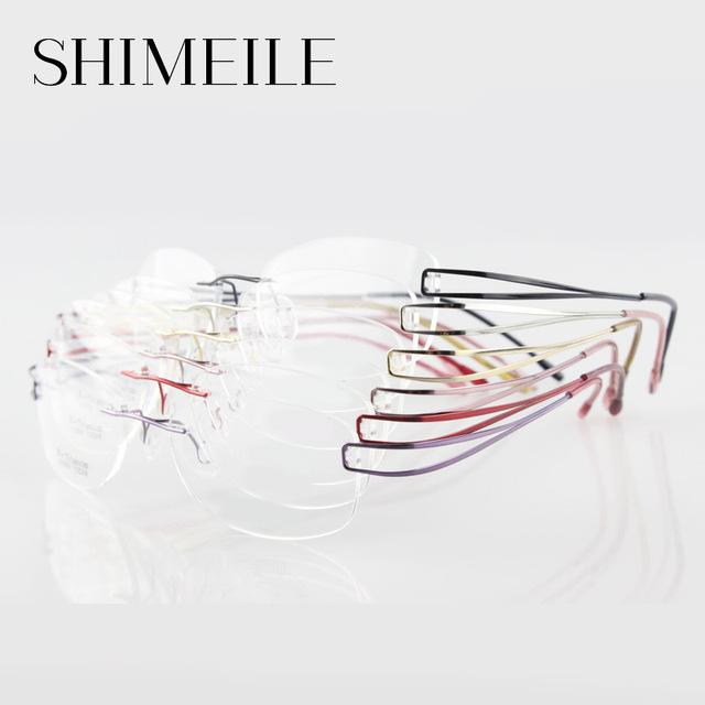 Silhueta sem aro titanium óculos de armação de óculos sem aro não-parafuso titanium frame ótico de alta qualidade para as mulheres e1050