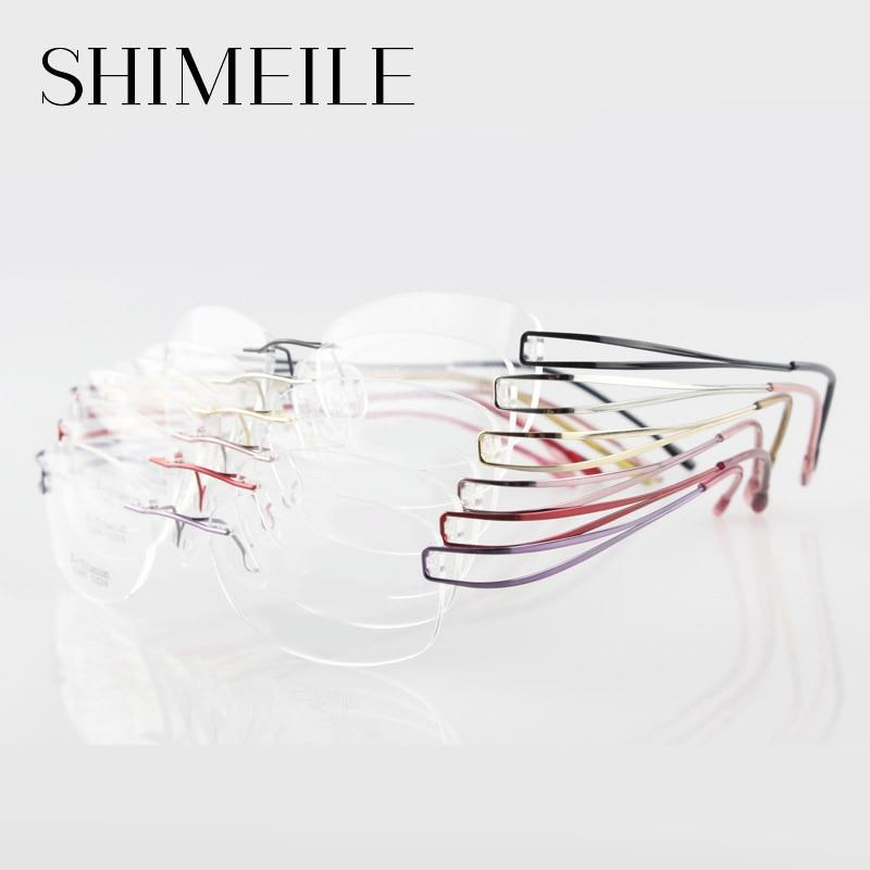 Silueta sin rebordes Titanium gafas no tornillo Titanium anteojos ...