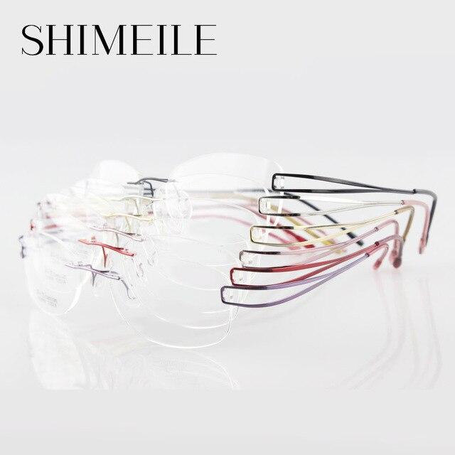 Silueta sin rebordes titanium lentes de los vidrios de la no-tornillo titanium sin rebordes del marco óptico de alta calidad para las mujeres e1050