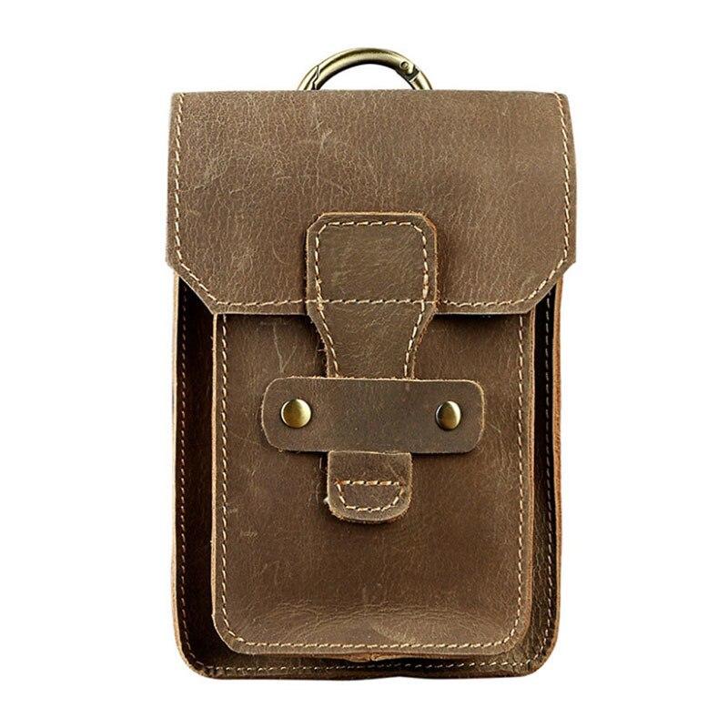 New Men Crazy Horse Genuine Leather Cowhide Vintage Cell/Mobile Phone Cover Case skin Hip Belt Bum Purse Fanny Pack Waist Bag
