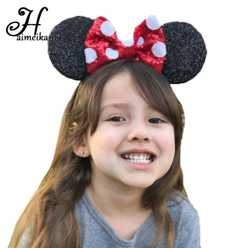 Haimeikang New Arrival 12 Color Big Bowknot Sequins Headband for Girl  Mouse Ears Hair Hoop  Headwear Hair Accessories 12pcs hair accessories mickey minnie mouse ears solid black sequins headbands headwear for boy girl birthday party celebration