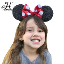 Haimeikang New Arrival 12 Color Big Bowknot Sequins Headband for Girl Mouse Ears Hair Hoop Headwear