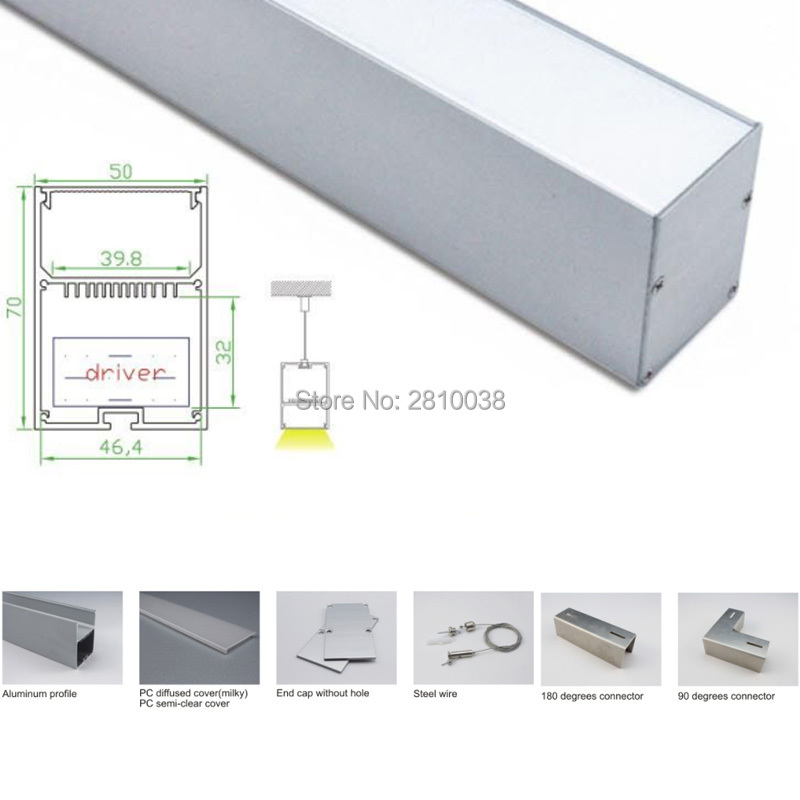 100 X 1 M Sets/Lot T3-T5 tempered aluminium led profile and 50x70 U led strip profile for suspension lighting