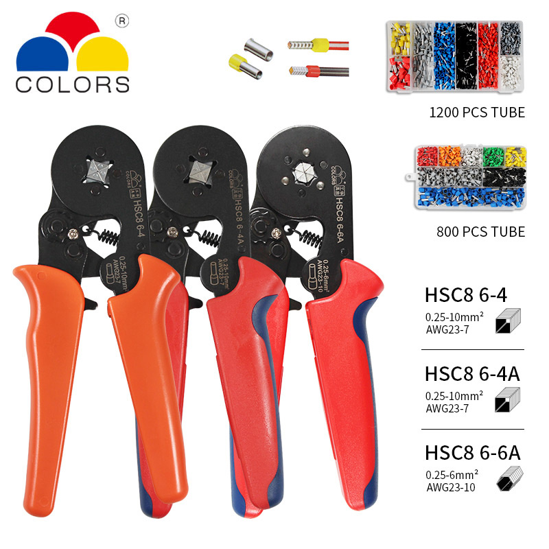 Crimper Plier Set 0.25 10mm2 self adjustable ratchat wire crimping tool with 1200 Wire Terminal Crimp Connector Insulated Pliers     - title=