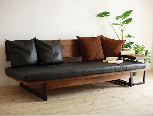 American Country Living Room Sofa Couch Bench Loft Industrial Rectangular Leather Casual Style Wrought Iron