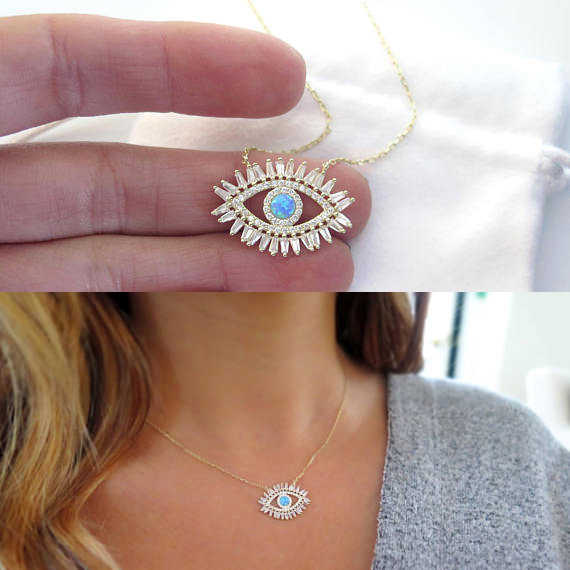 2018 NEW LUCKY evil eye jewelry gold filled AAA baguette cubic zirconia cz turquoises stone fashion classic eye necklace New