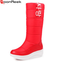 MoomMeek Black White Red Winter Women Boots Keep Warm Waterproof Ladies Snow Boots Round Toe Platform