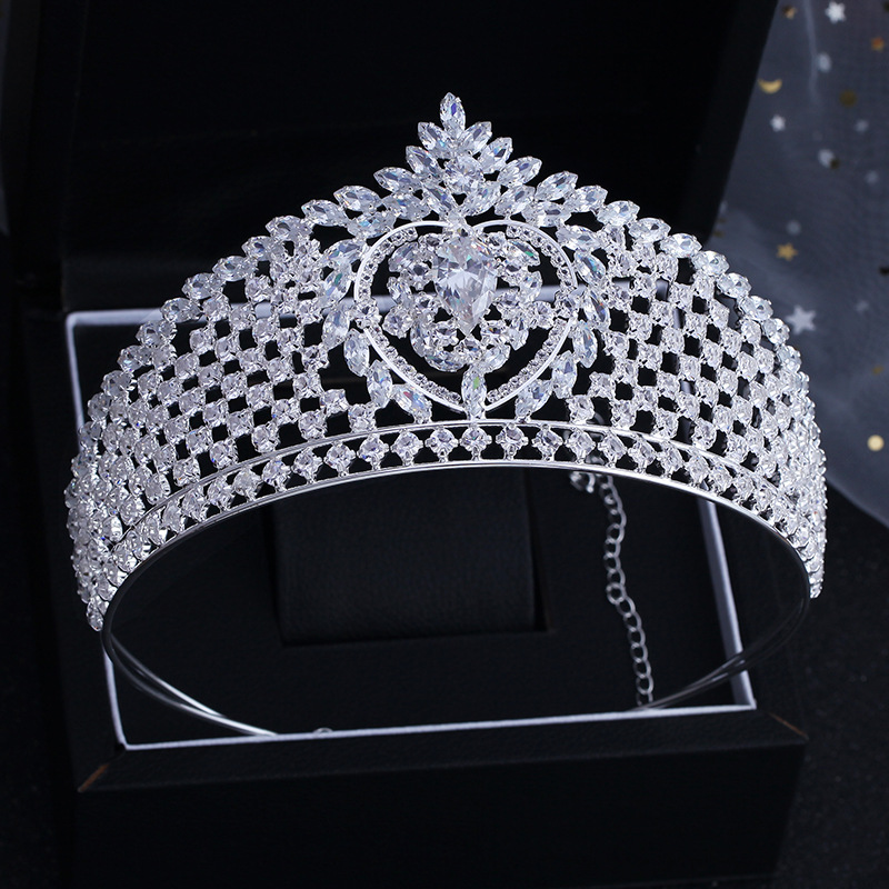 High Quality Sparkling Zircon Bridal Tiaras Crowns CZ Crystal Bride Hairbands Headpiece Wedding Hair Accessories Big Crown himstory luxury sparkling cz flower bridal tiaras crown hair accessories big diadem crowns for women girls wedding party holiday