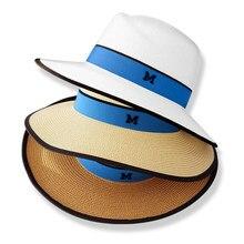 Ocasional do verão chapéus de sol para as mulheres carta moda M jazz beach  sun palha Panamá chapéu de palha para o homem Atacado. 6c713813aa