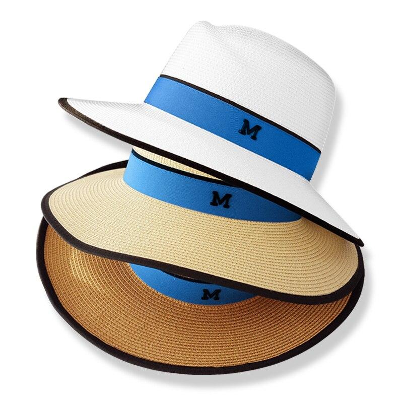 f21306d7d91ad € 9.22 |Été occasionnels chapeaux de soleil pour femmes mode lettre M jazz  paille pour homme beach sun paille Panama chapeau En Gros et au détail ...