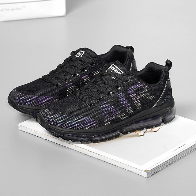 New Reflective Sneakers Women Running Shoes Air Cushion Black Sport Shoes for Woman Breathable Professional Athletic Chaussure