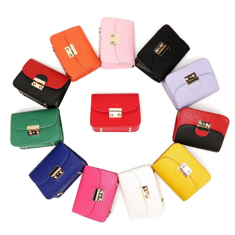 New Women Mini Flap Fashion Clutch Bag Cute Female Chain pack Clutches Lock Messenger Bag High Quality cute mini honey bee style fluorescent marker pens w chain 24 pack