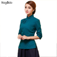 Plus size S XXL 2016 New Woman Top with chinese style traditional vintage plate buttons Cotton linen Top improved cheongsam tops