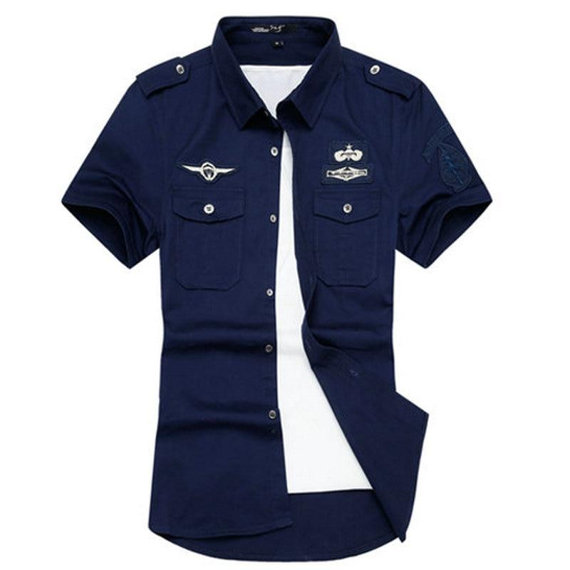 2017 new summer mens dress shirt casual slim fit short for White military dress shirt