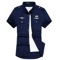 2016 New Arrival Summer Mens Dress Shirt Casual Slim Fit Fashion Short Sleeve Airforce Uniform Military