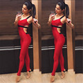 Women bodysuit 2017 New Sexy fitness RED rompers womens jumpsuit skinny bandage elasticity combinaison femme long overall