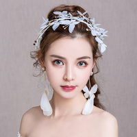 Romantic Yarn Butterfly Headband Hair Accessories for Wedding Bride Headpiece Artificial Feather Drop Earrings Bijoux Engagement
