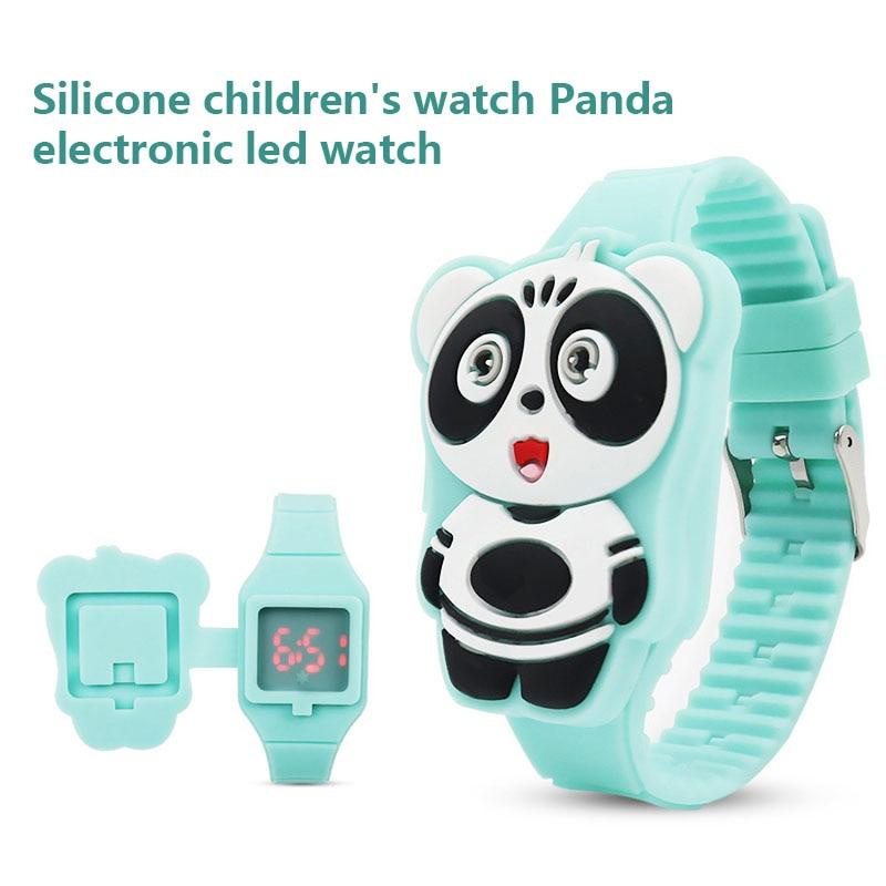 1 Pcs Kinder Led Elektronische Uhr Silikon Band Cartoon Panda Flip Fall Armbanduhr Schöne Geschenk M8694