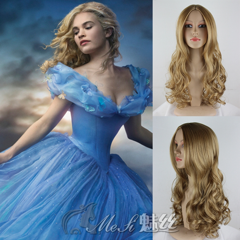 Hot 60cm long curly Anime Cinderella blonde Cosplay wigs,heat resistant kanekalon fibre synthetic peruca cosplay
