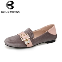 BONJOMARISA Big Size 34 43 New Belt Buckle Pearl Mixed Colors Slip On Shallow Shoes Woman Casual Soft Retro Spring Autumn Flats