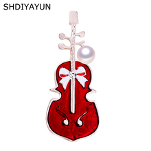 SHDIYAYUN New Pearl Brooch Simple Violin Brooch For Women Enamel Lovely Brooch Pins Natural Freshwater Pearl Jewelry Accessories цена и фото