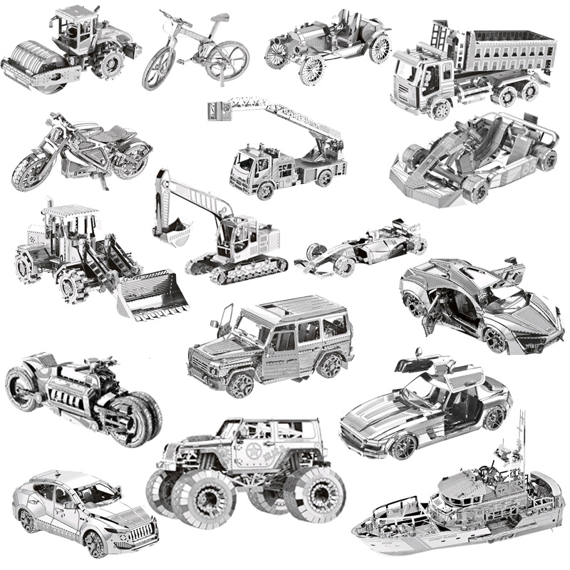 N 3D Metal Puzzle World Building Car  Model Kid Assembly Adult Jigsaw Educational Toys