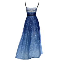 New blue Camisole star gown long dress Sexy Strapless Ankle Length
