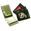 Moda para hombre de Cuero cartera de tarjeta de crédito con Un Resorte de Acción Caso Cash Money Clip Tarjeta de Crédito Clip carteira billetera delgada