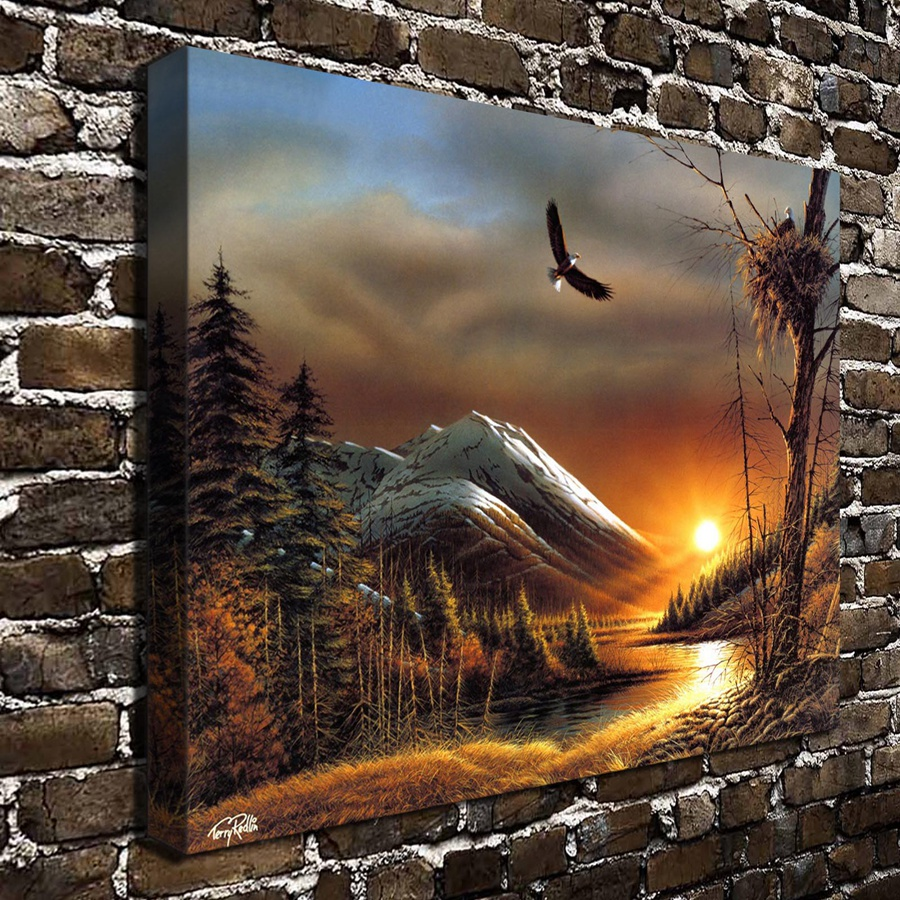 1293 Terry Redlin Artwork Flying Free Scenery Hd Canvas