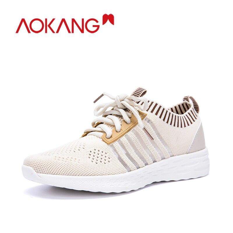 Aokang Mode Schoenen Vrouw Sneakers Fly Gebreide Voor Vrouwen Trainers Platform Schoenen Wedge Air Mesh Ademende Dames Casual Schoenen - 2