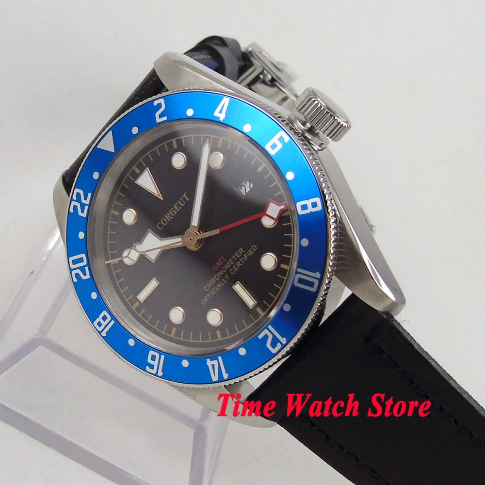 41mm Corgeut GMT watch black dial date luminous blue Bezel sapphire glass Automatic movement men's watch dive watch cor114 цена и фото