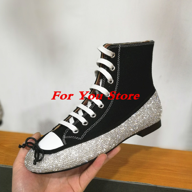 Round Toe Women Winter Boots Denim Design High Top Lace Up Shoes Butterfly Knot Embellished Crystal Decor Stylish Short Booties stylish round collar sleeveless lace spliced women s jumpsuit