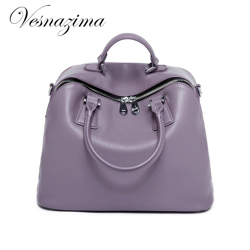 VZ women bags genuine leather handbags messenger bag purple natural leather  shoulder bag handbag for work commuter tote lilac on Aliexpress.com