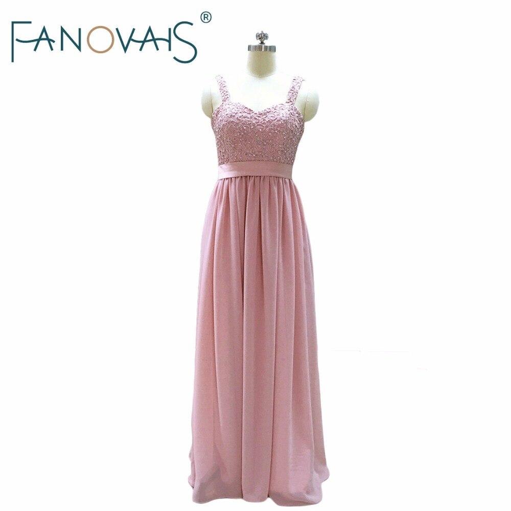 Beading Bridesmaid Dresses Pearls Lace vestido de Fiesta longo Cheap Bridesmaid Dresses Pink Blush Dress Maid of Honor