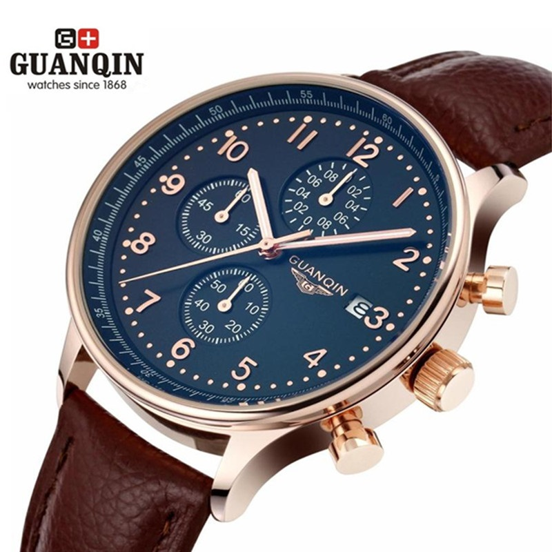 ФОТО Famous Brand GUANQIN Chronograph Watch Luxury Quartz Men Watch Sports Military Leather Male Watches Relogio Masculino Reloj