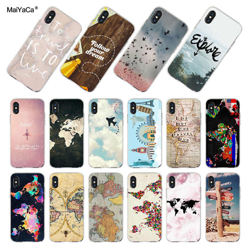 6d2cce4bb69200 MaiYaCa World Map Travel Plans soft tpu phone case cover for iPhone 8 7 6 6S