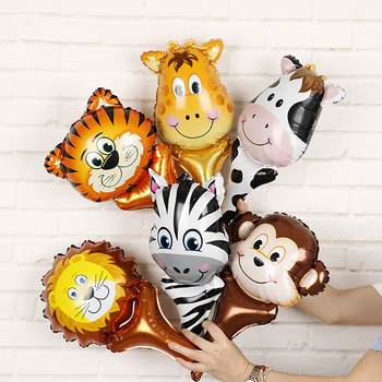 6 uds globos metalizados de cabeza de Animal tigre león globo de aire inflable jungla fiesta decoración chico juguetes fiesta de cumpleaños decoración