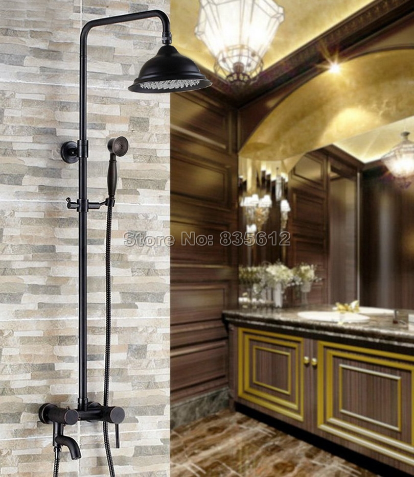 Black Oil Rubbed Bronze Wall Mounted Rain Shower Faucet Set with Bathroom Single Handle Bathtub Mixer Taps + Hand Spray Wrs361