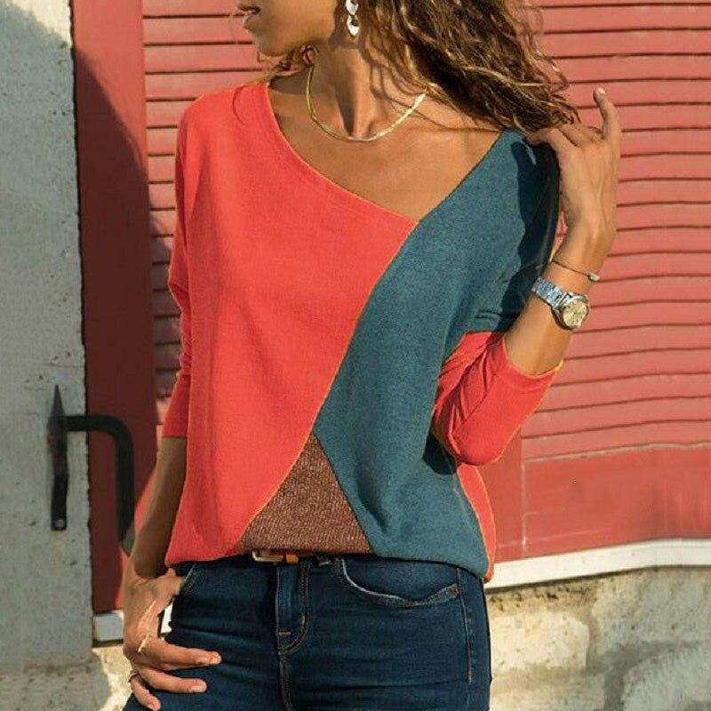 1pc camisetas femininas manga longa em torno do pescoço retalhos pulôver fino ajuste feminino outono topos dropshipping