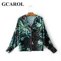 GCAROL New Arrival Green Floral Women Kimono Turn Down Collar Oversize Blouse Red Button Decration OL
