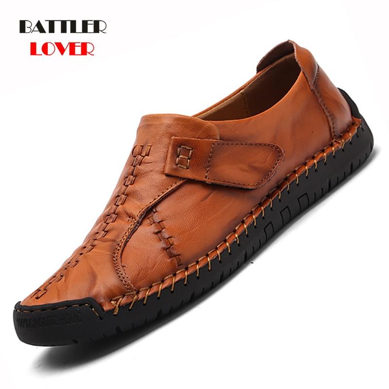 Luxury Casual Shoes Men Loafers Genuine Leather Flat Slipon High Quality Designer Shoes Men Moccasins Sneaker Footwear Male Shoe